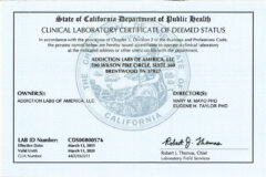 california department of health license